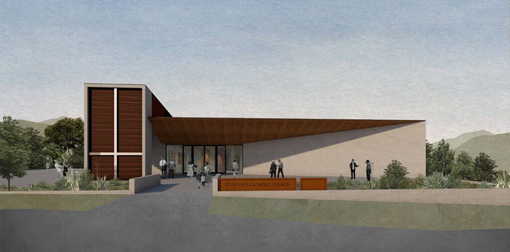 Artist's impression of new St Peter's Church with upside down cross.