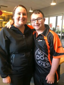 Michael Dodds enjoys his first day at Mitre 10, supported by retail manager Jan Storm.