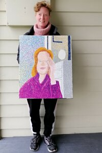 Sarah Griffin with her Self Portrait